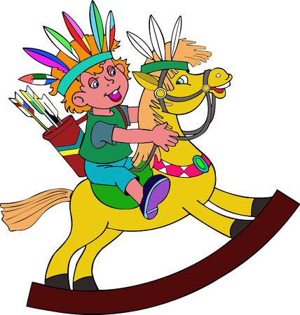 etnia: Ilustración del jinete divertido  Vectores
