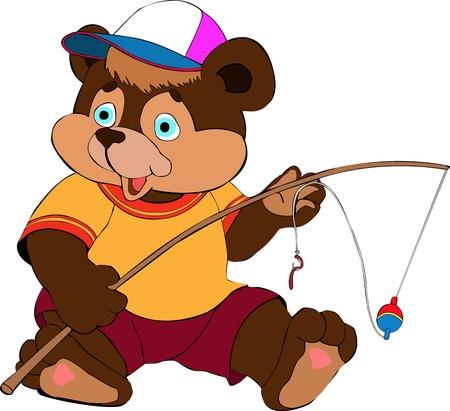 color image fish hook: Illustration of the bear fisherman Illustration