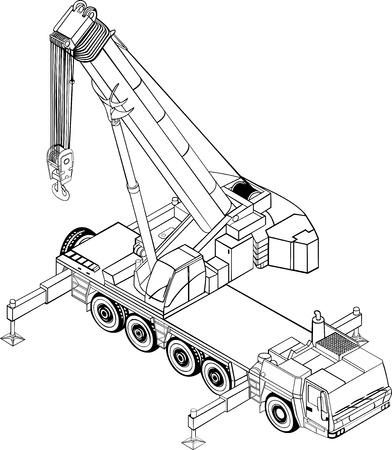 maquinaria pesada: Ilustración de la grúa de peso pesado Vectores
