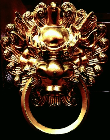 traditional textured: The anger of dragon - oriental dragon door knob