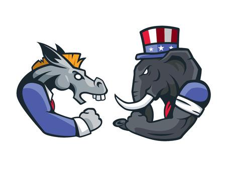 USA Democrat Vs Republican Election 2016 Cartoon -  Power Match Debate