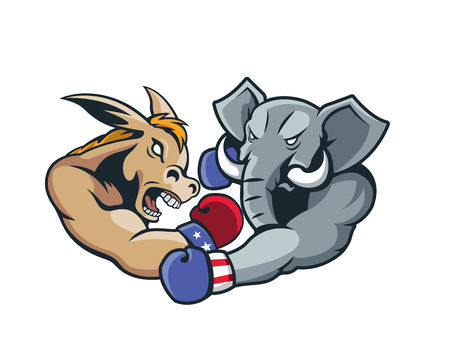 aggressive: USA Democrat Vs Republican Election 2016 Cartoon -  Aggressive Boxing Day Match Illustration