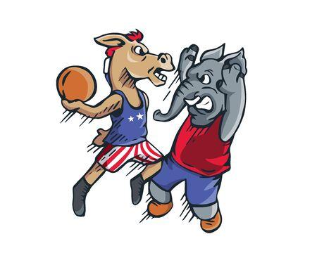 USA Democrat Vs Republican Election 2016 Cartoon -  Political Basketball Jam