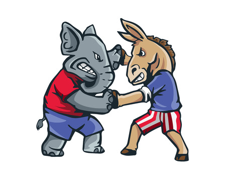 USA Democrat Vs Republican Election 2016 Cartoon -  The Fight Club
