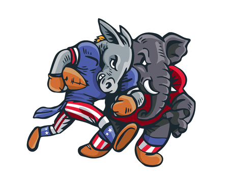 visions of america: USA Democrat Vs Republican Election Match Cartoon - American Football Game Match