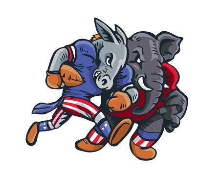 USA Democrat Vs Republican Election Match Cartoon - American Football Game Match