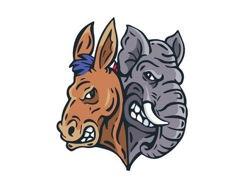 USA Democrat Vs Republican Election Match Cartoon - Debate Night