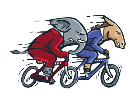 race winner: USA Democrat Vs Republican Election Match Cartoon -  Full Speed Bicycle Race