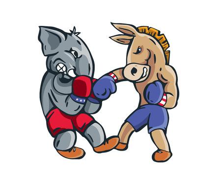 boxing match: USA Democrat Vs Republican Election Match Cartoon -  Boxing Match Final