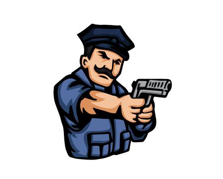 Moderno icono de la historieta Oficio - Policía Vectores