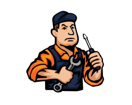 ingeniero caricatura: Moderno icono de la historieta Oficio - Mecánico