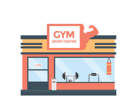 Modern Flat Commercial Building - Health Gym Stock Illustratie