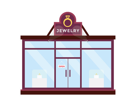 jewelry store: Modern Flat Commercial Building - Jewelry Store Illustration