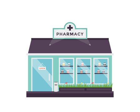 Modern Flat Commercial Building - Pharmacy 向量圖像