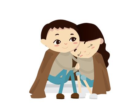 Romantic Valentine Couple Illustration - Cold Evening