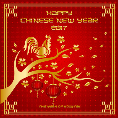 asian family: Chinese New Year 2017 Rooster Year Card Design, Suitable For Social Media, Banner, Flyer, Card, and Other Related Occasion