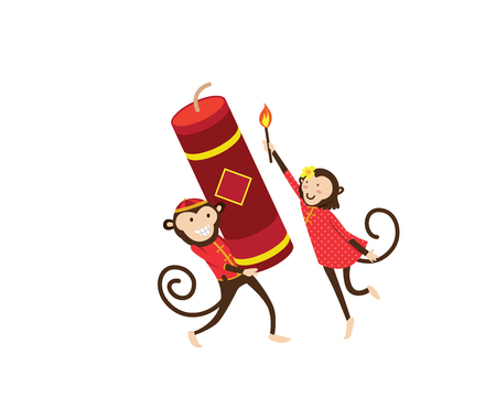 Chinese New Year 2016, Monkey Couple Character Illustration in Various Activities