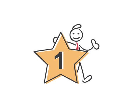 editorial: Creative Business Strategy Tips Stickman Illustration Concept - Be Number One