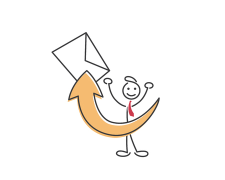 email icon: Creative Business Strategy Tips Stickman Illustration Concept - Spread The News About Who You Are