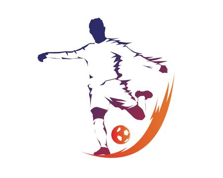 Namiętny nowoczesny piłkarz w akcji Logo - Ball On Fire Penalty Kick