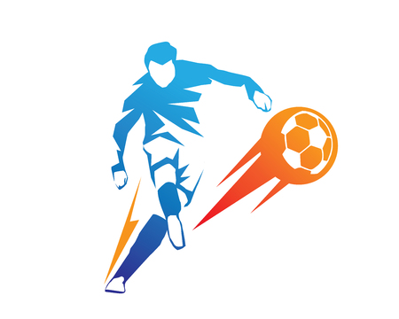 Passionate Modern Soccer Player In Action Logo - Aggressive On Fire Kick Stock Illustratie