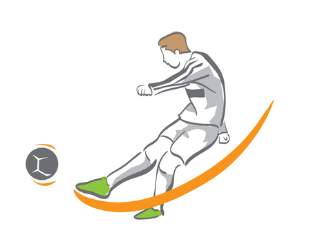 Passionate Modern Soccer Player In Action Logo - Golden Chance Goal Kick