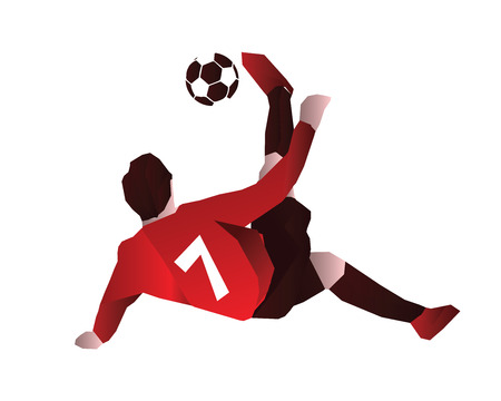 Passionate Modern Soccer Player In Action Logo - Bicycle Kick For No.7