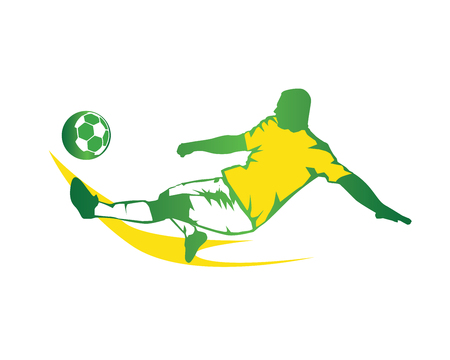 Passionate Modern Soccer Player In Action Logo - Green Fast Kick Illustration