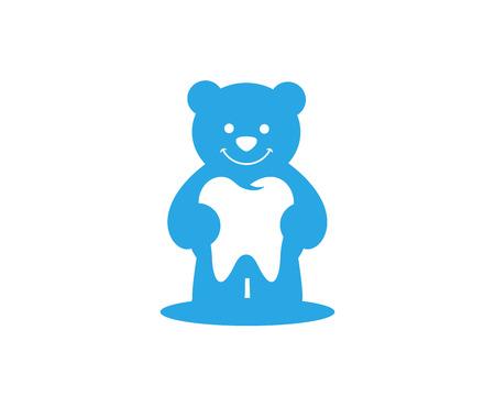 orthodontist: Modern Dental Logo Symbol - Blue Bear Kids Dental