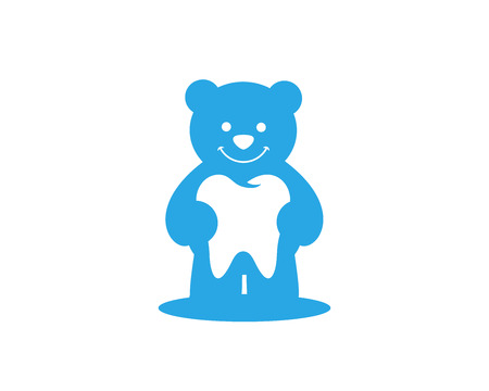 Modern Dental Logo Symbol - Blue Bear Kids Dental