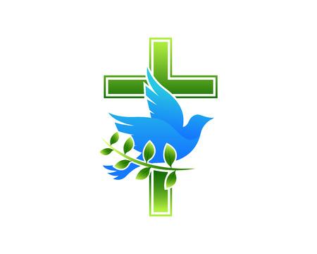 현대 교회 로고 - 비둘기 십자가 일러스트