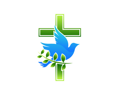 Modern Church Logo - Dove Cross 向量圖像