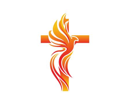 sacerdote: Moderno logotipo de la iglesia - en el fuego de Phoenix Encima Cruz Vectores