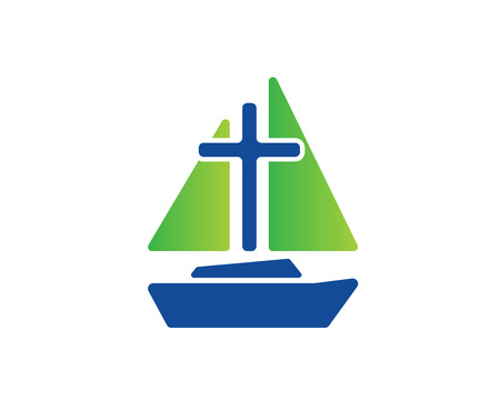 Modern Church Logo - Sail Boat Cross