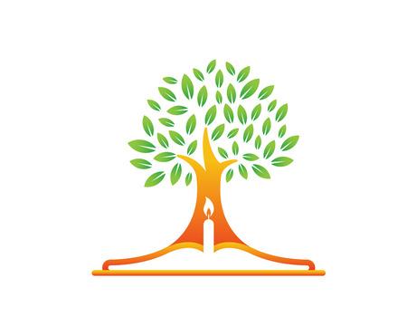 현대 교회 로고 - 성경 나무 상징 일러스트