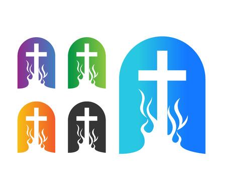 pentecost: Modern Church Logo - Colorful On Fire Church Window Symbol Illustration