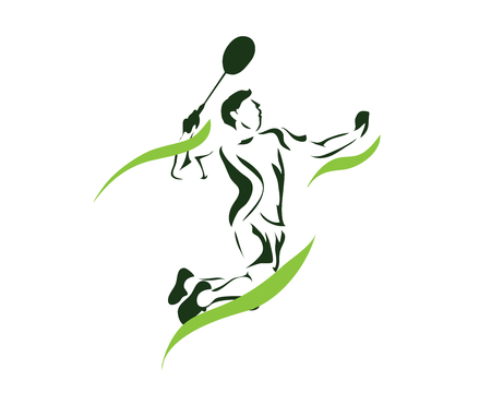 Modern Passionate Badminton Player In Action Logo - Green Flame Game Point Smash Illustration