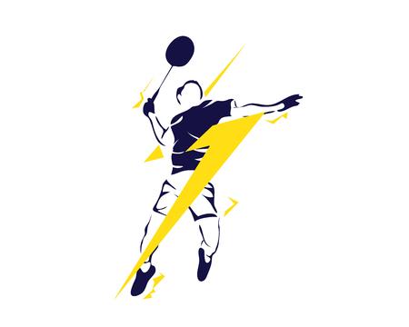 アクションのロゴ - スーパー スマッシュ雷でモダンな情熱的なバドミントン選手