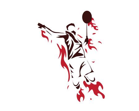 アクションのロゴ - 火災で積極的に近代的な情熱的なバドミントン選手のスマッシュ  イラスト・ベクター素材