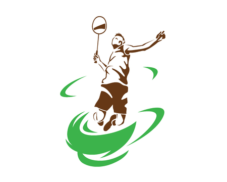Modern Passionate Badminton Player In Action Logo - Flying Tornado Smash Illustration