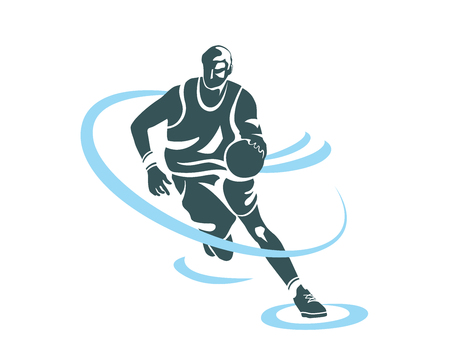league: Modern Professional Basketball Player In Action Logo - Power Speed Fast Dribble Attack