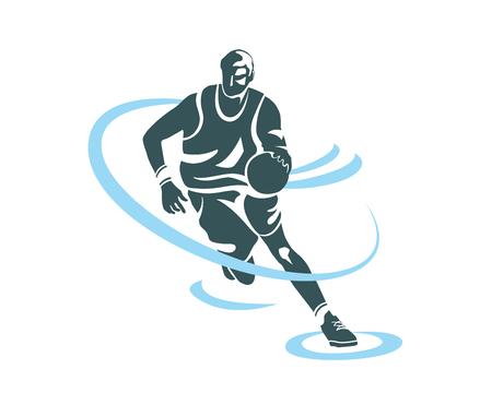 Profesional moderno del jugador de baloncesto de Acción Logo - Power Speed ??Fast Ataque Baba