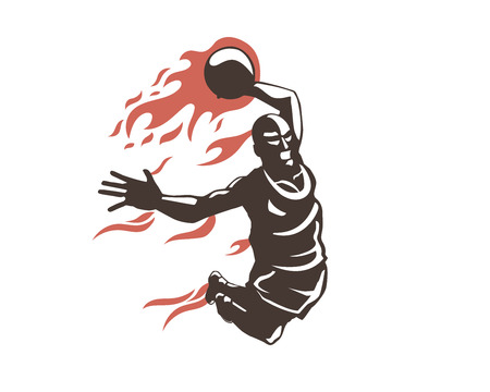 Modern Professional Basketball Player In Action Logo - Super Flying Slam Dunk On Fire