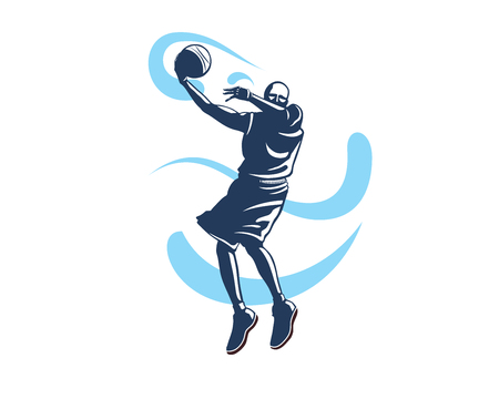 Modern Professional Basketball Player In Action Logo - Fast Lay Up Super Technique Illustration