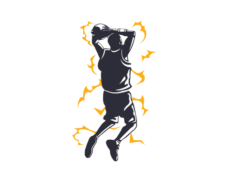 Modern Professional Basketball Player In Action Logo - Electrify Power Dunk Illustration
