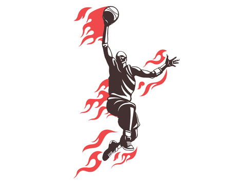 Modern Professional Basketball Player In Action Logo -  Flying On Fire Dunk Competition