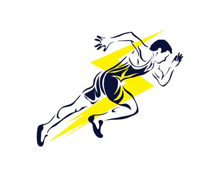 현대 열정적 인 러너 실루엣 액션 로고 - 번개 스피드 빠른 스프린트 일러스트