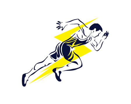 Modern Passionate Runner Silhouette In Action Logo - Lightning Speed Fast Sprint 向量圖像