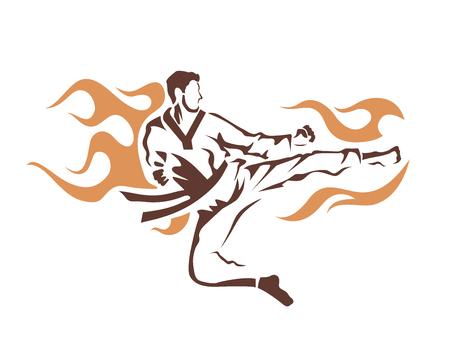 Arte Marcial agresiva Taekwondo en Acción Logo - Flying Kick Flaming