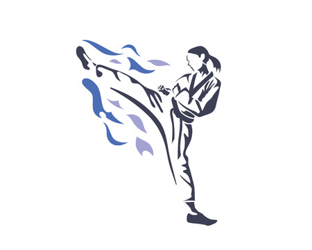 Aggressive Taekwondo Martial Art In Action Logo - Female Athlete On Fire Practice Vettoriali